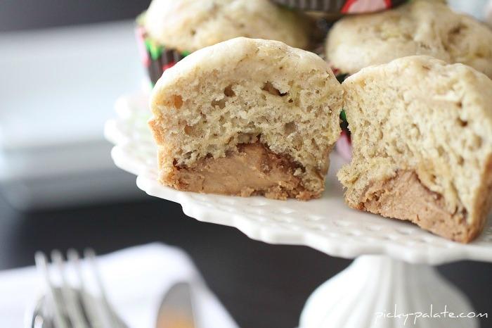 peanut butter truffle centered banana bread muffins - gluten-free recipe
